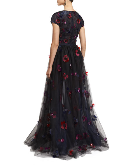 Short-Sleeve Floral-Embellished Tulle Ball Gown, Black/Ruby/Navy