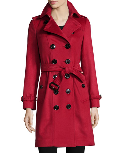 Cashmere Mid-Length Trenchcoat, Parade Red