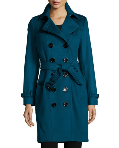 Cashmere Mid-Length Trenchcoat, Teal