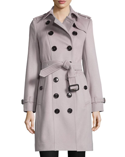 Mid-Length Cashmere Check-Collar Trenchcoat, Pale Orchid