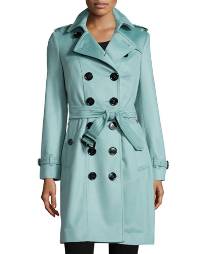 Double-Breasted Cashmere Trenchcoat, Dusty Mint