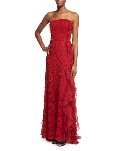 Sleeveless Lace & Organza Gown, Ruby