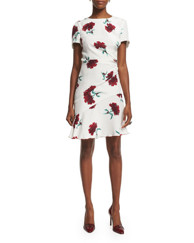 Short-Sleeve Round-Neck Floral Silk Day Dress, Ruby