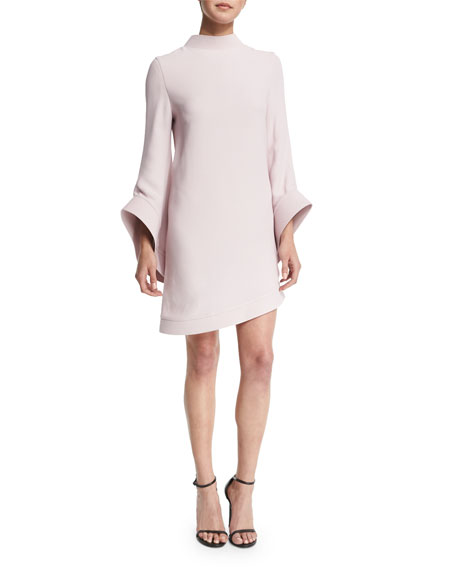 Mock-Neck Bell-Sleeve Dress, Blush