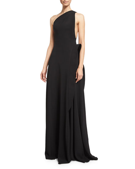 One Shoulder Gown with Side Peplum Detail, Black