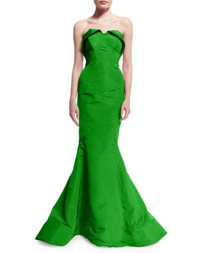 Strapless Sweetheart Silk Faille Gown, Green