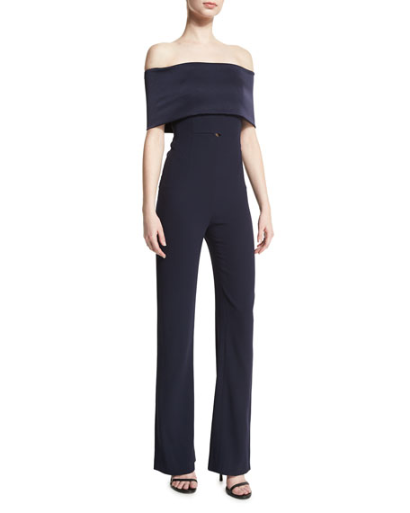 Galvan Off-the-Shoulder Fitted Jumpsuit, Midnight