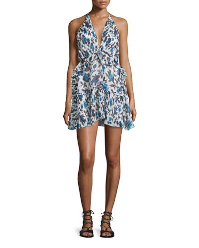Plunging Floral-Print Silk Halter Dress, Blue