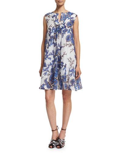 Sleeveless Floral-Print Trapeze Dress, Blue