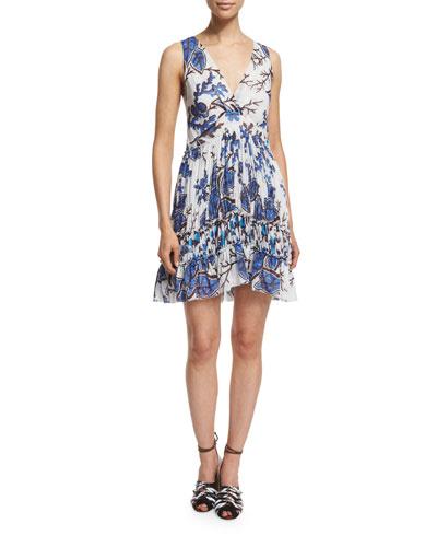 Sleeveless V-Neck Floral-Print Georgette Dress, Blue