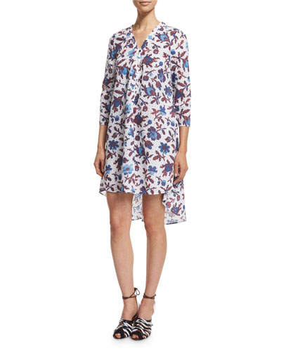 3/4-Sleeve High-Low Printed Cotton Dress