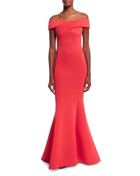 1cdc4d85 Rachel Gilbert Enico Off-the-Shoulder Knit Mermaid Gown, Raspberry