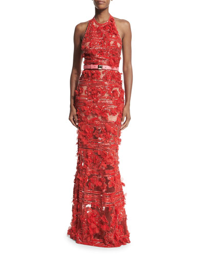 Embroidered Tulle Halter-Neck Gown, Lipstick