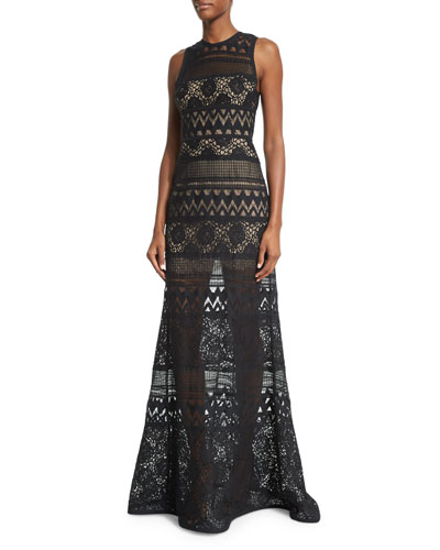 Sleeveless Crocheted Column Gown, Black