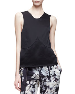 Sleeveless Floral-Back Tank Top, Black