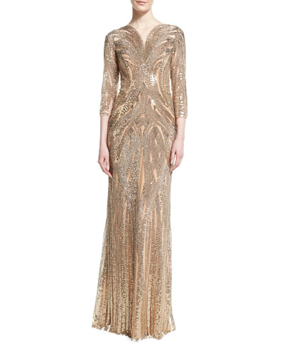 3/4-Sleeve Sequined Column Gown, Illusion Gold