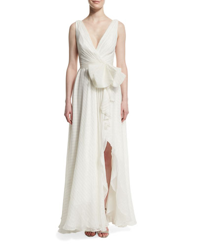 Sleeveless Georgette Wrap-Front Gown, Ivory