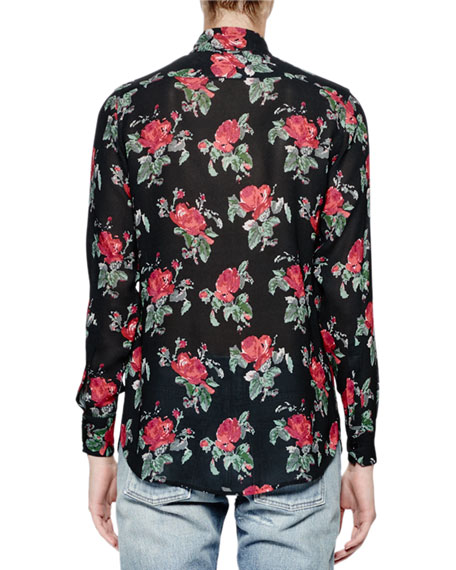 Long-Sleeve Grunge-Rose Blouse, Black/Red