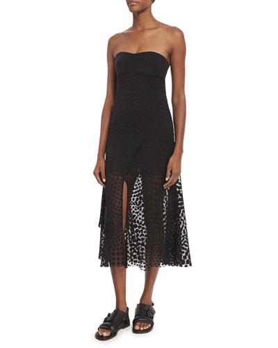 Strapless Devore Overlay Dress, Black