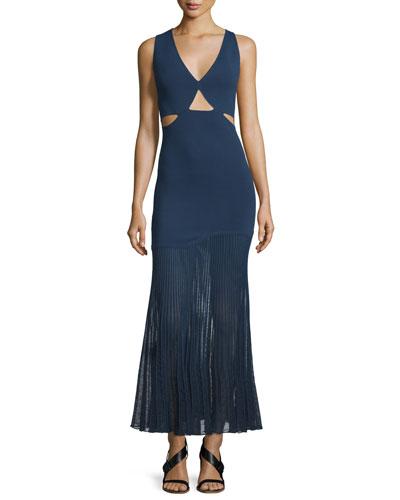 Sleeveless Cutout Knit Dress w/Accordion-Pleated Skirt, Navy