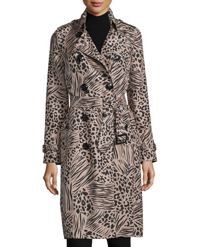 Printed Mulberry Silk Trenchcoat, Pink