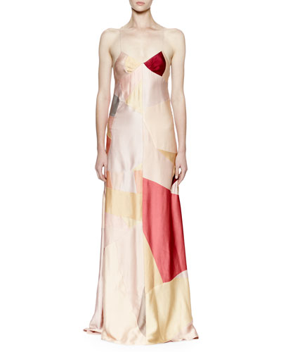 Sleeveless Patchwork Satin Cami Gown, Multi