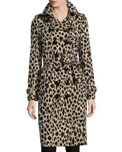 Leopard-Print Cotton Trenchcoat, Khaki/Black