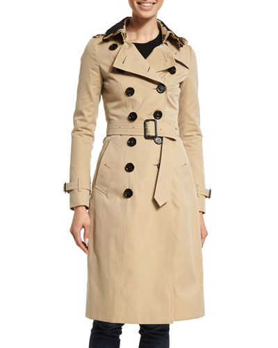 Lace-Collar Cotton Trenchcoat, Khaki