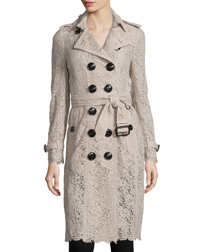 Crocheted Lace Slim-Fit Trenchcoat, Antique Pink