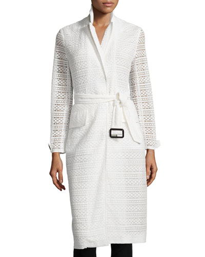 Crocheted Lace Slim-Fit Trenchcoat, White