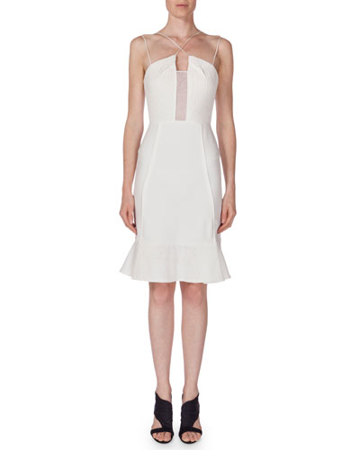 Clere Fluted Crepe Cami Dress, White