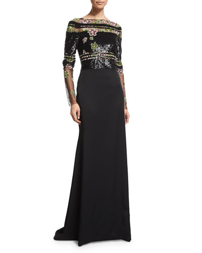Long-Sleeve Embroidered Georgette Gown, Black/Multi