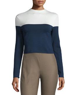 Colorblock Long-Sleeve Jersey Top, Dark Navy/Cream