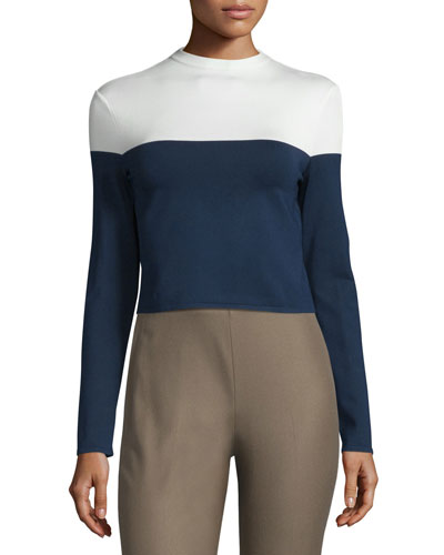 Colorblock Long-Sleeve Jersey Top, Dark Navy/Cream