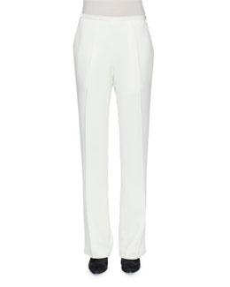 Wide-Leg Cady Pants, White