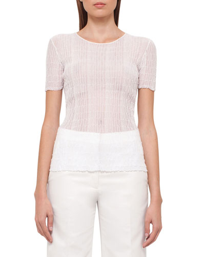 Short-Sleeve Ribbed Top, Anemone