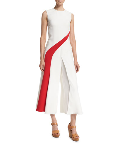 Sleeveless Silk Crepe Striped Jumpsuit, Off White
