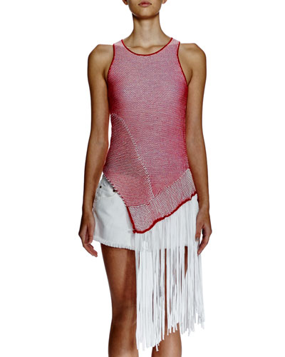 Sleeveless Bicolor Asymmetric-Fringe Top, Red/White
