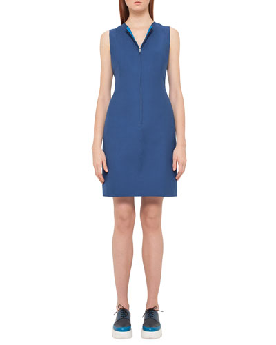 Reversible Sleeveless Zip-Front Sheath Dress, Aquamarine/Glass