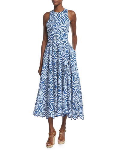 Raquel Swirl-Print Linen Dance Dress, Navy/Natural White