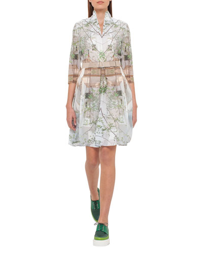 3/4-Sleeve Printed Voile Shirtdress, Multi