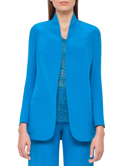 Silk Crepe Cardigan Jacket, Glass