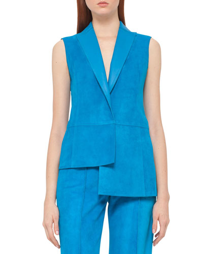 Asymmetric Lamb Suede Gilet, Glass