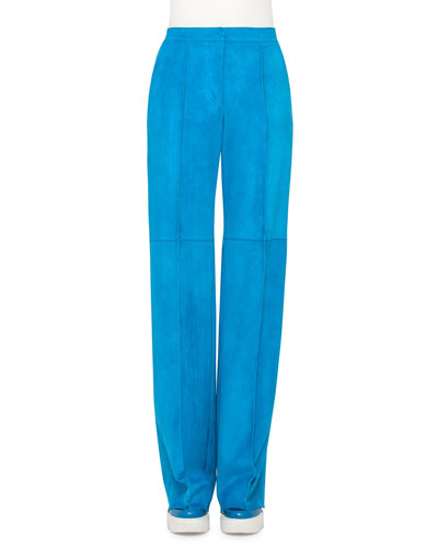Seamed Wide-Leg Suede Pants, Glass