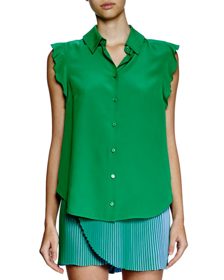 Ruffle-Sleeve Silk Blouse, Green