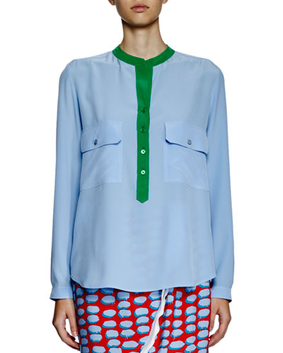 Long-Sleeve Colorblock Silk Blouse, Blue