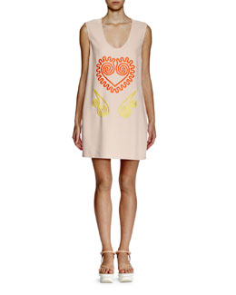 Squiggle-Embroidered Shift Dress, Nude