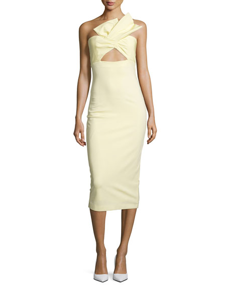 Twist-Front Bustier Midi Dress, Lemon