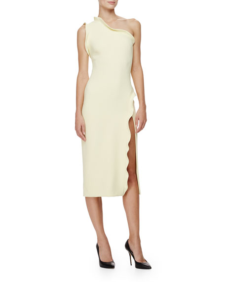 One-Shoulder Ruffle-Trim Sheath Dress, Lemon