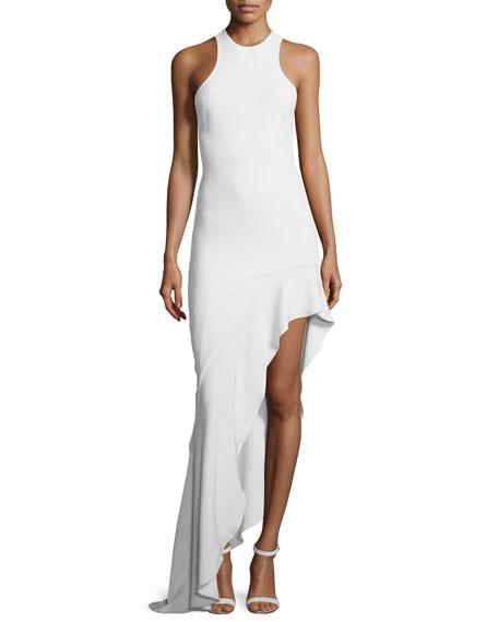 Sleeveless Asymmetric Ruffle-Hem Gown, White